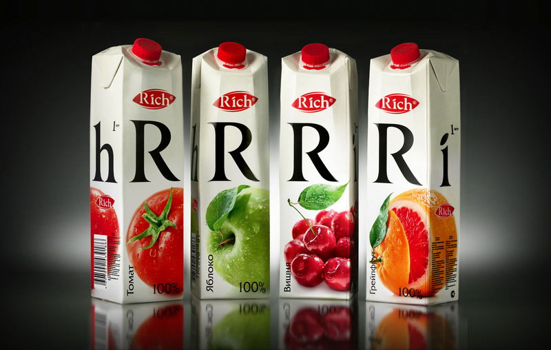 Дизайн упаковки упаковки сока Rich в Москве