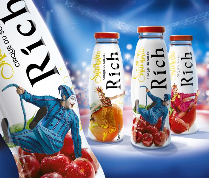 Фото портфолио: дизайн упаковки пластовой бутылки сок Rich цирк