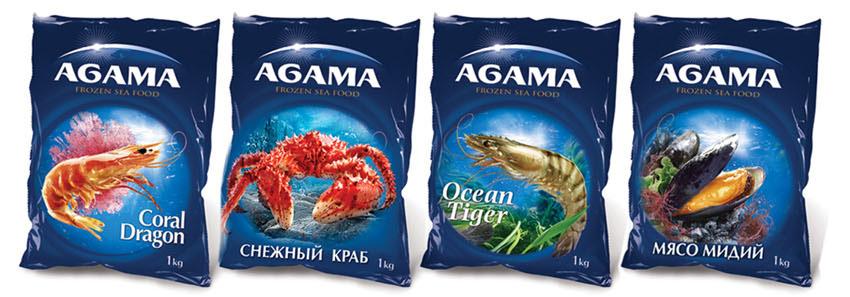 Дизайн упаковки морепродуктов Agama в Москве