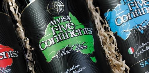 Дизайн упаковки вина 5 Континентов для Alvisa в Москве